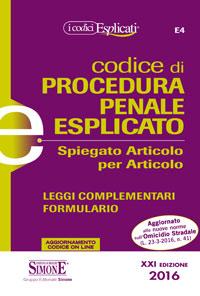 Codice di procedura penale esplicato – Ed. Simone 2016