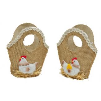 cestino borsetta con galline
