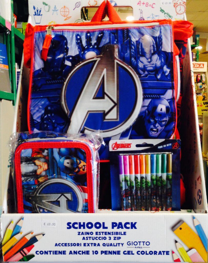 astuccio, zaino, accessori Avengers