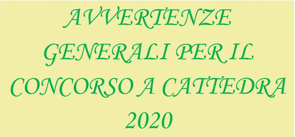 AVVERTENZE GENERALI 2020