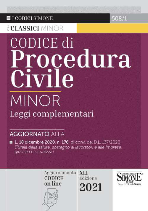 Codice Di Procedura Civile E Leggi Complementari Minor 2021